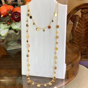 Candie's Goldtone discs double strand necklace